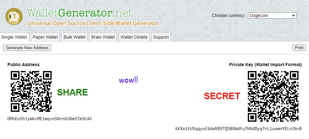 doge wallet generator