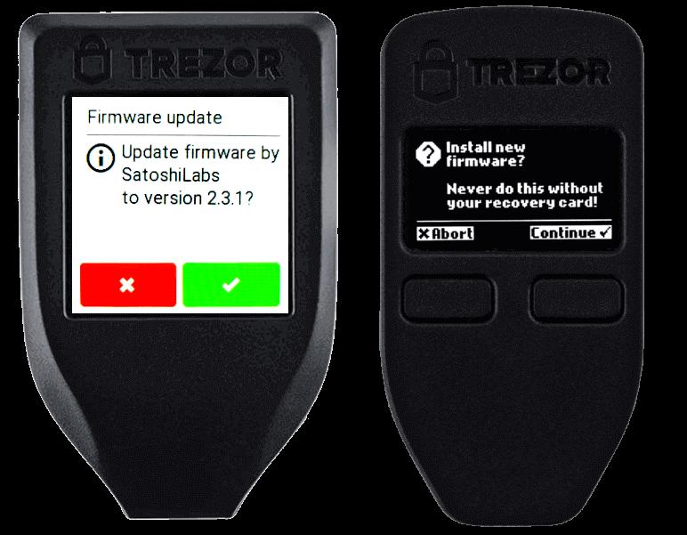 update trezor 1 t firmware