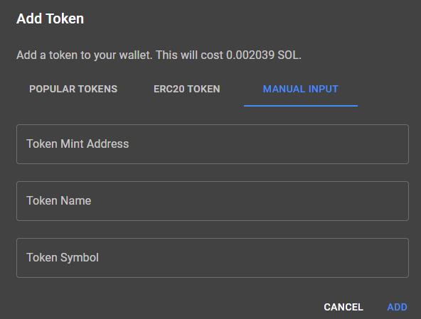 manual tokens solana