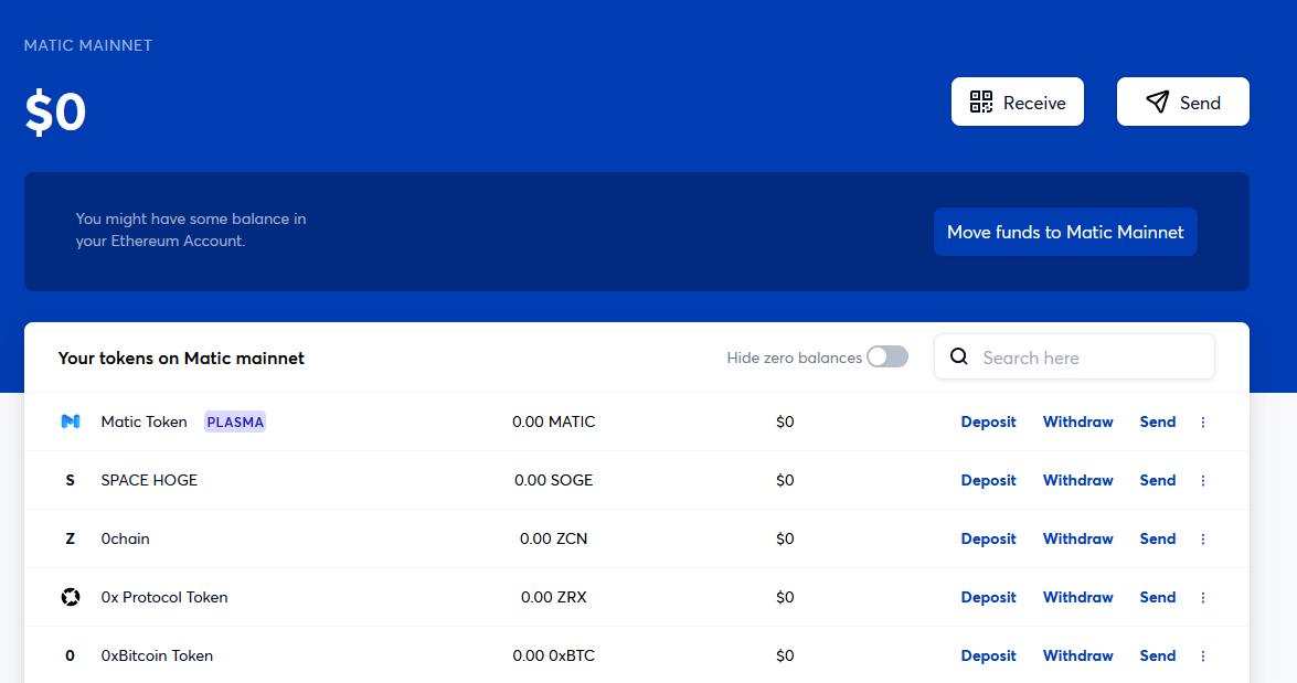 matic wallet dashboard