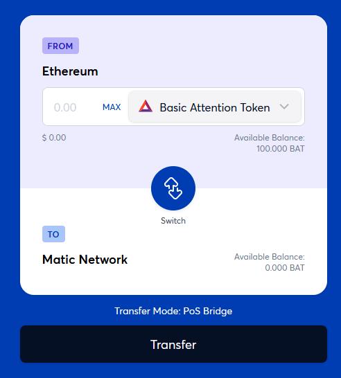 matic bridge swap tokens