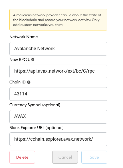 avalanche network rpc