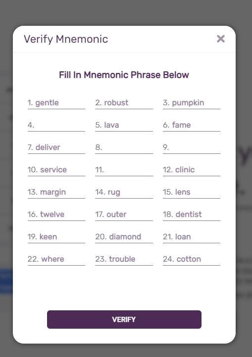 verify mnemonic